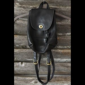 Small Vintage Leather Coach Purse / Day Backpack